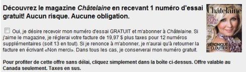 Opt-in du formulaire de concours Châtelaine